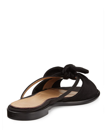 April Bow Satin Slide Sandal, Black