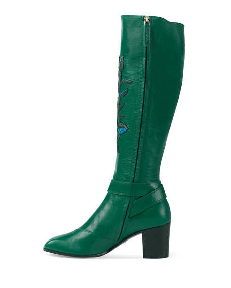 Dionysus Embroidered Knee Boot, Emerald