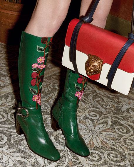 48b4811c1 Gucci Dionysus Embroidered Knee Boot, Emerald | Neiman Marcus