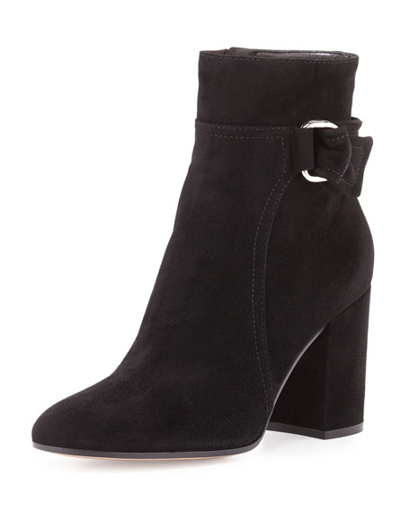 Gianvito Rossi Suede 85mm Block-Heel Boot, Black