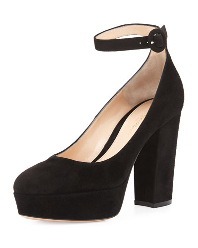 Suede Platform Ankle-Strap Pump, Black