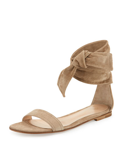 Suede Ankle-Tie Flat Sandal, Bisque