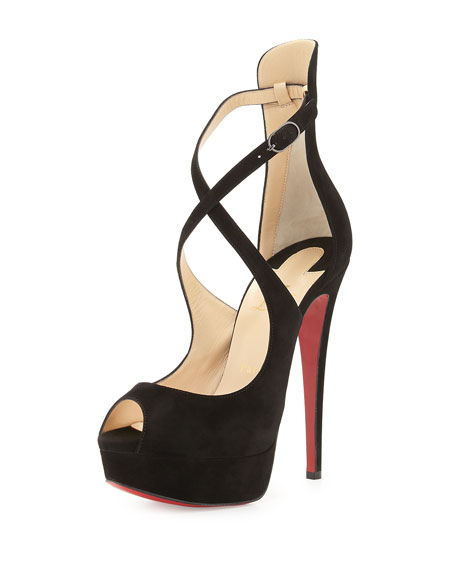 Christian Louboutin Marlenalta Suede 150mm Red Sole Pump, Black