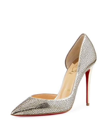 Galu Half-d'Orsay 100mm Red Sole Pump, Light Gold/Ivory