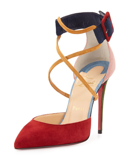Suzanna Colorblock Crisscross Red Sole Pump, Multi