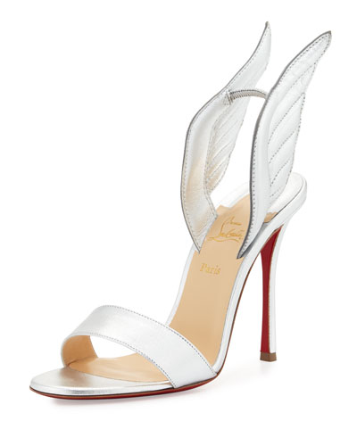 Samotresse 120mm Wing Red Sole Sandal, Silver