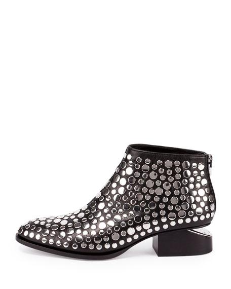 Alexander Wang Kori Studded Leather Lift-Heel Bootie, Black