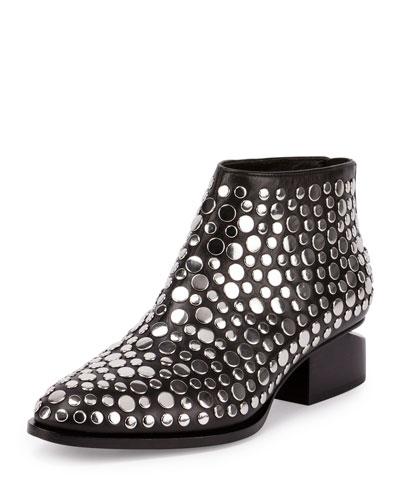 Kori Studded Leather Lift-Heel Bootie, Black