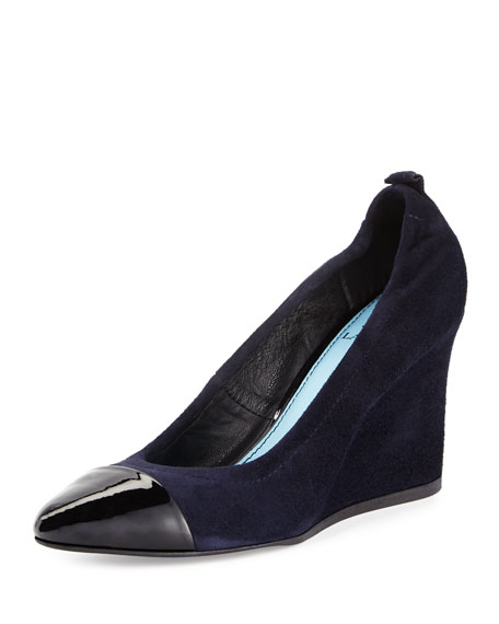 Lanvin Nubuck Cap-Toe Wedge Pump, Dark Blue/Black