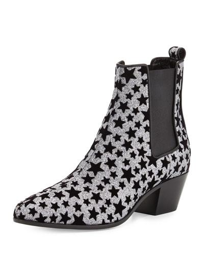 Star Rock Glitter Chelsea Boot, Anthracite/Nero