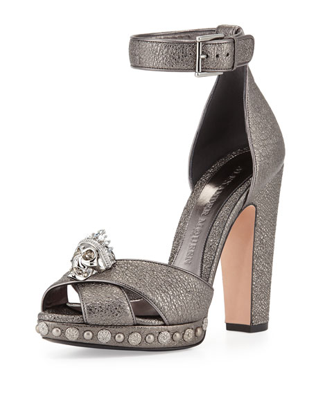 Alexander McQueen Skull Leather Ankle-Wrap Pump, Black Pearl