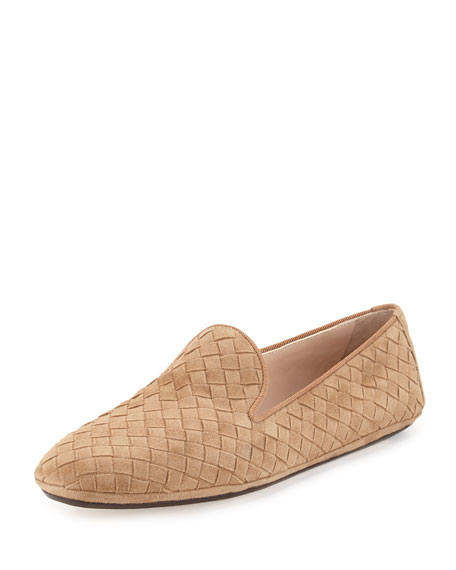 Bottega Veneta Intrecciato Suede Smoking Slipper, Camel