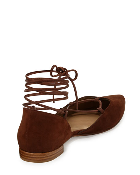 Gilligan Lace-Up d'Orsay Flat, Walnut