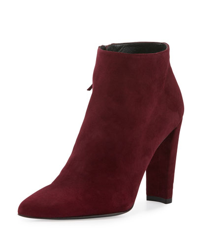 Hitimes Suede Chunky-Heel Bootie, Bordeaux