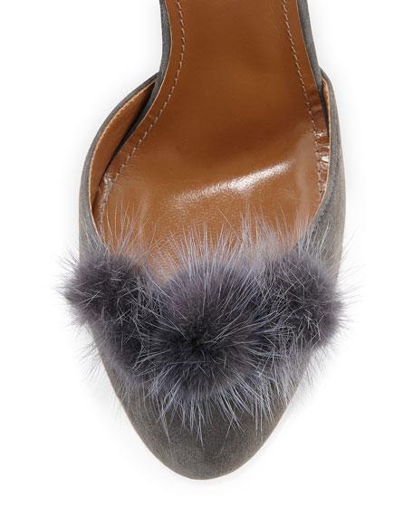 Aquazzura Wild Russian Mink Fur Pump, Urban Gray