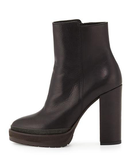 Leather Platform Ankle Boot, Black