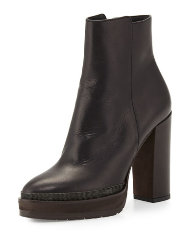 Leather Platform Ankle Boot, Black