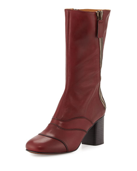 Chloe Side-Zip Leather 70mm Mid-Calf Boot, Deep Plum
