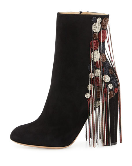 Bead-Fringe Suede Ankle Boot, Black/Mix