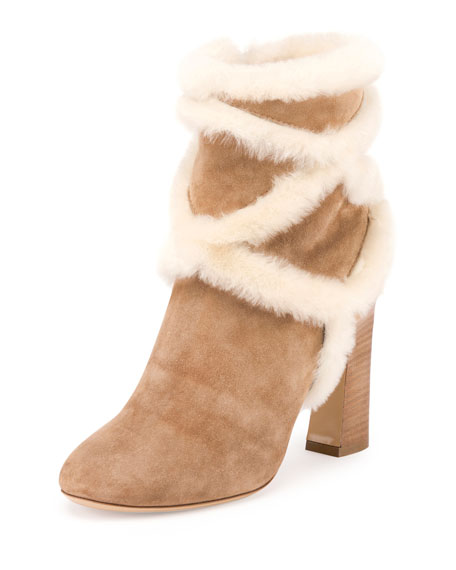 Trompette Shearling 100mm Bootie, Tobacco
