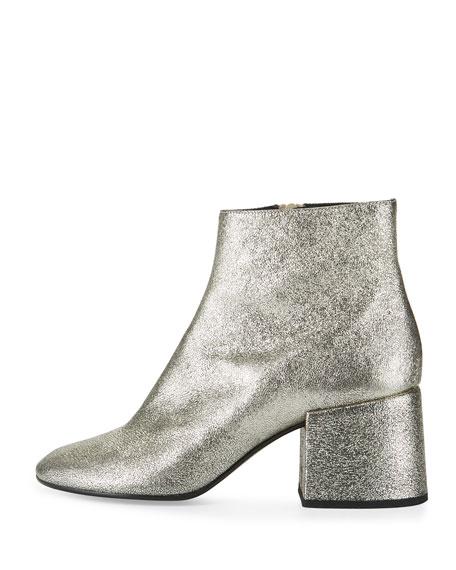 Metallic Leather Chunky-Heel Bootie, Platinum