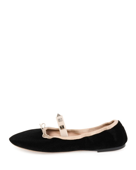 Rockstud Velvet Ballerina Flat, Nero