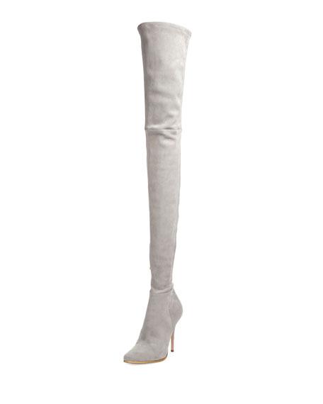 97182859972f1 Balmain Suede Thigh-High 110mm Boot, Gray   Neiman Marcus