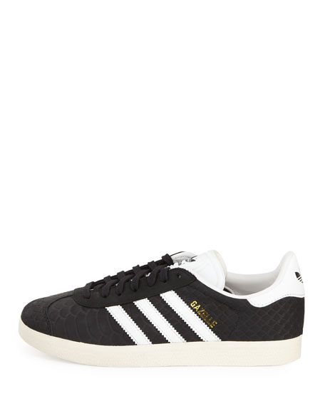 Gazelle Original Snake-Embossed Sneaker, Black/Crystal White