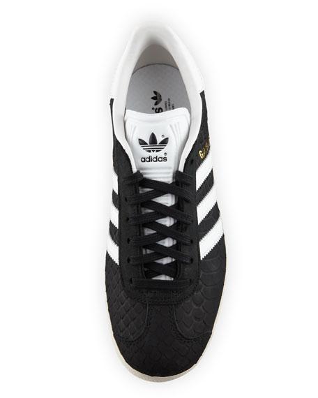Gazelle Original Snake-Embossed Sneaker, Black/Crystal White