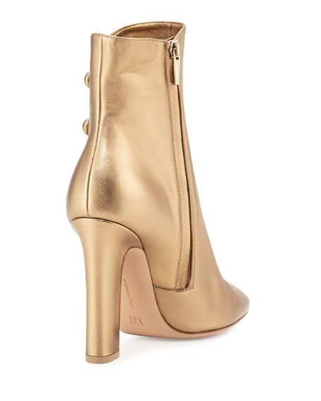 Savoie Metallic Button-Loop Ankle Boot, Gold