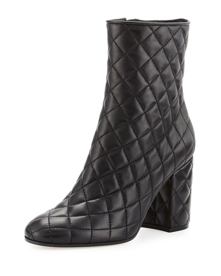 Gianvito Rossi Quilted Leather 100mm Ankle Boot, Black