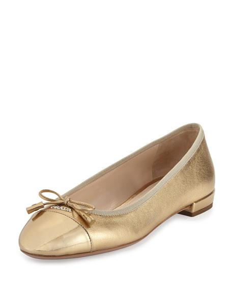 Prada Cap-Toe Leather Ballerina Flat, Platinum (Platino)