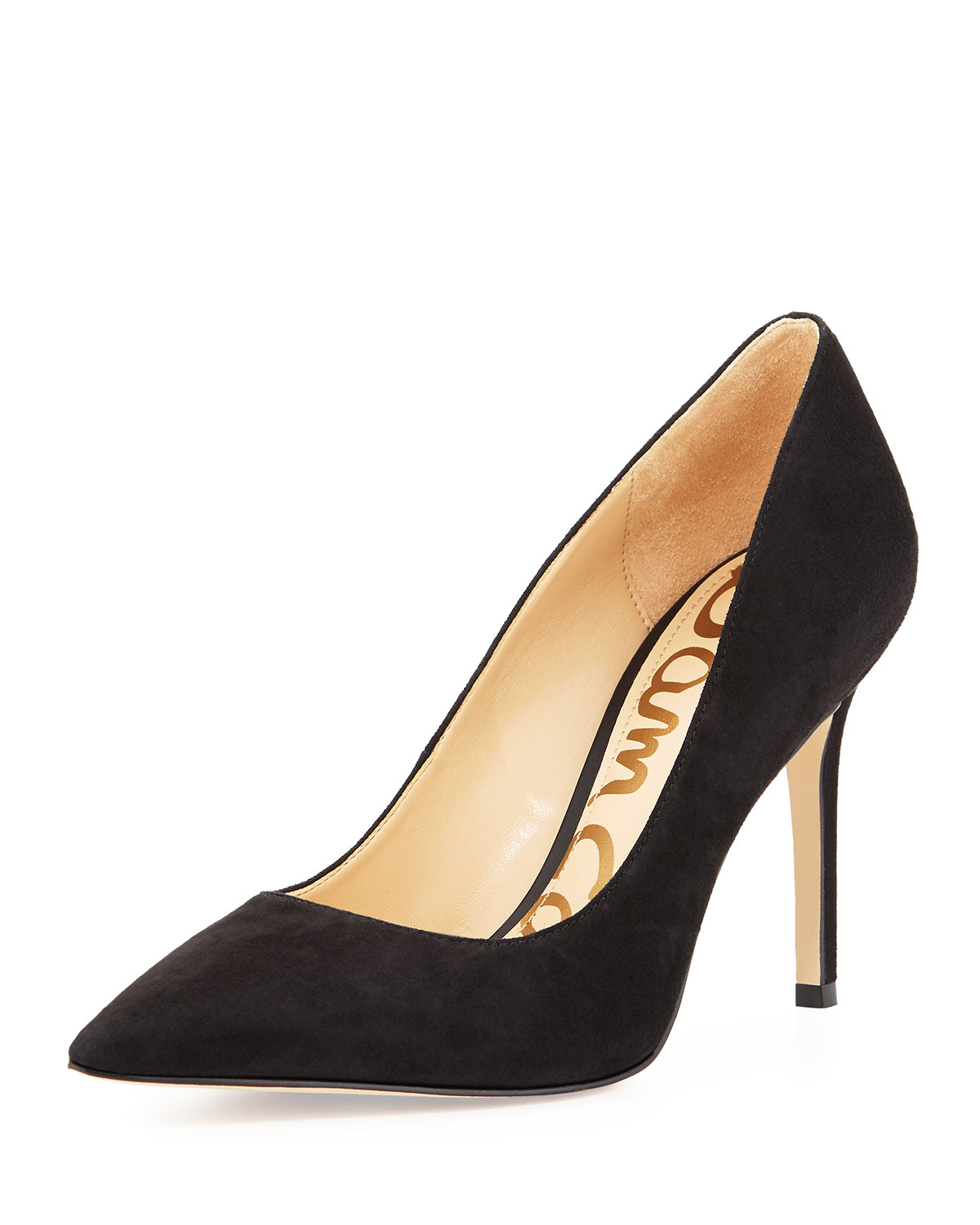 516370578 Sam Edelman Hazel Pointed-Toe Suede Pump, Black | Neiman Marcus