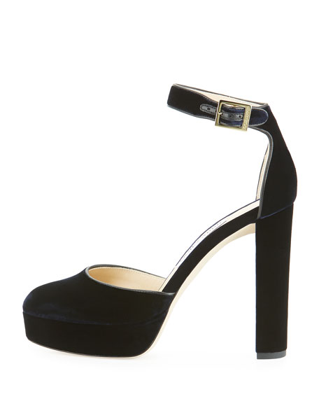 Daphne Velvet Ankle-Wrap Sandal, Navy