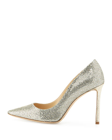 Romy Glitter Pointed-Toe 100mm Pump, Champagne