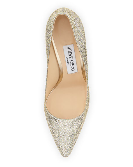 Image 3 of 3: Romy Glitter Pointed-Toe 100mm Pump, Champagne