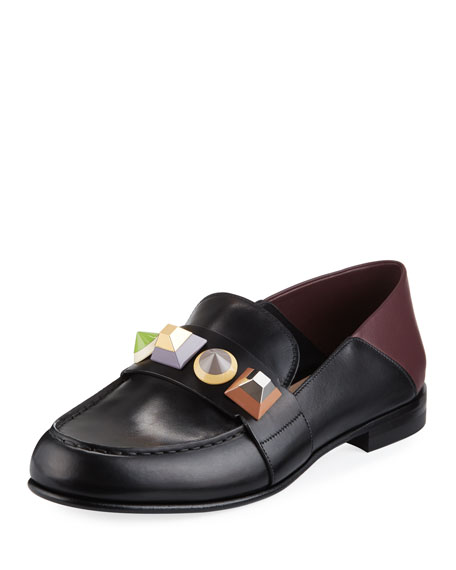 Fendi Rainbow Stud Leather Loafer, Nero/Bordeaux/Multi