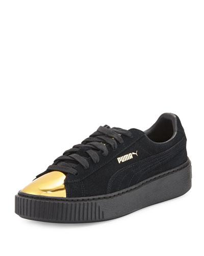 Basket Suede Cap-Toe Creeper, Gold/Black