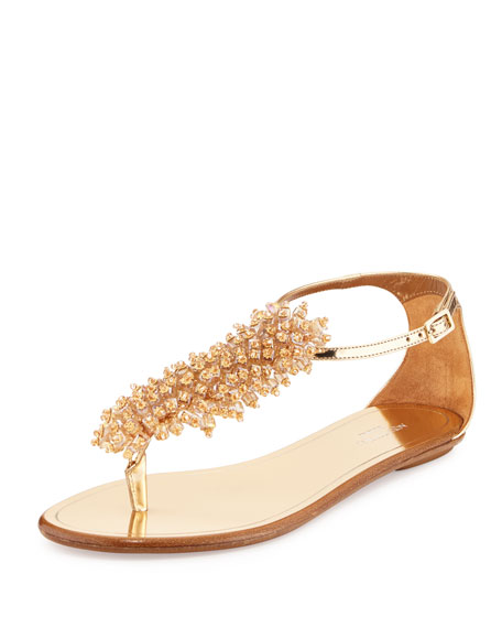 Aquazzura Monaco Beaded T-Strap Sandal, Rose Gold