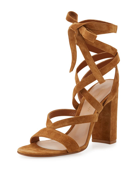 Gianvito Rossi Janis High Suede Lace-Up 105mm Sandal,