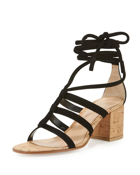 Gianvito Rossi Cayman Lace-Up Suede 60mm Sandal, Black