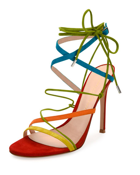 Gianvito Rossi Strappy Suede 105mm Sandal, Multi