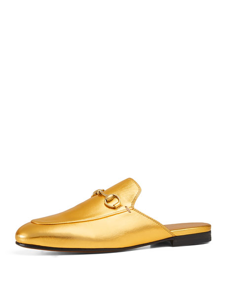 Gucci Princetown Leather Horsebit Mule, Gold