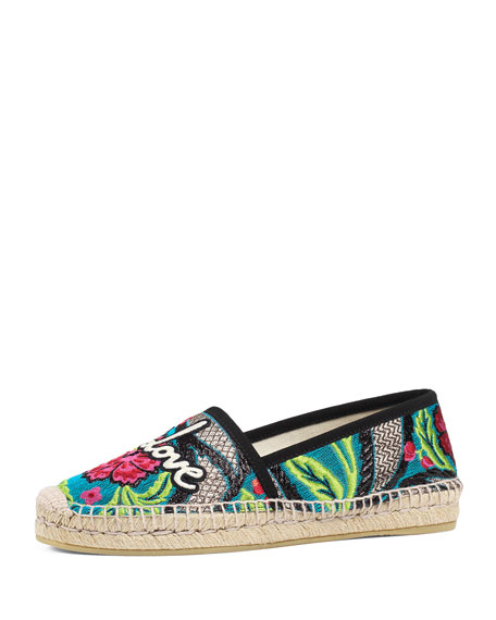 Gucci Pilar Blind for Love Espadrille Flat