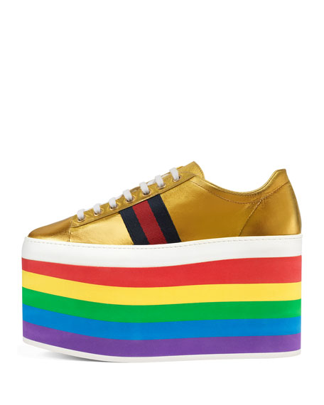 Leather Platform Sneakers, Rainbow/Gold