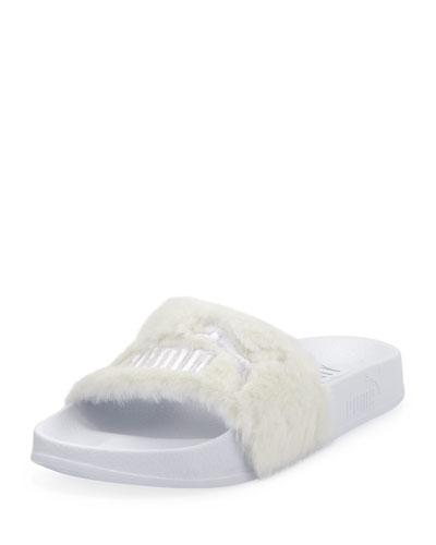 Leadcat Fenty Faux-Fur Slide Sandal, White/Silver