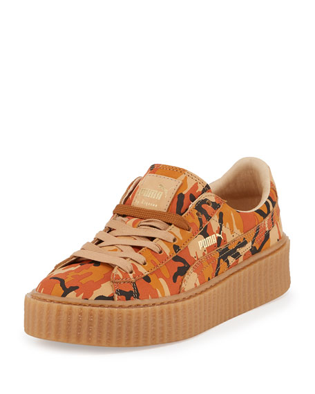 Camouflage-Print Suede Platform Creeper, Orange/Oatmeal