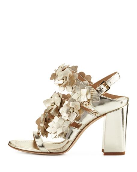 Blossom Leather 65mm Sandal, Spark Gold