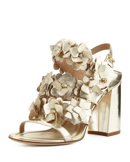 Tory Burch Blossom Leather 65mm Sandal, Spark Gold