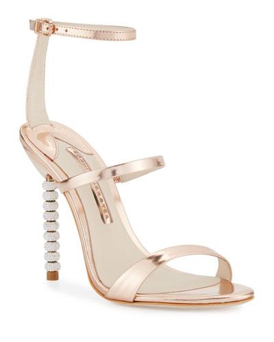 Rosalind Crystal-Heel Leather Sandals, Rose Gold
